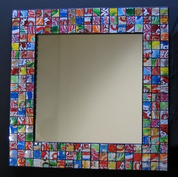 Mirror made of Soda Cans.
