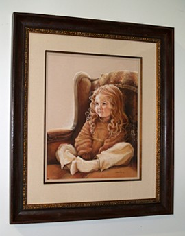 Curly Haired Girl Painted Portrait